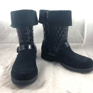 UGG Black Quilted Tall Boots Rubber Soles Sz 4